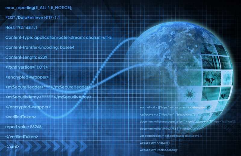 Digital abstract image of the world overlayed with digital data streams and coded information,